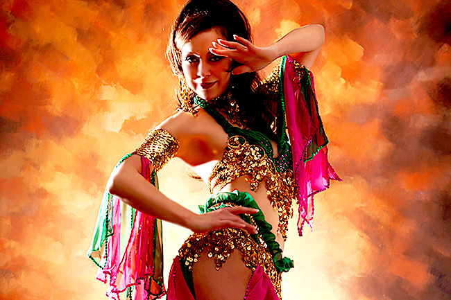 Belly Dancers In Las Vegas Gold Background