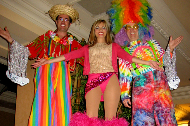 Colorful Stilt Walkers In Las Vegas